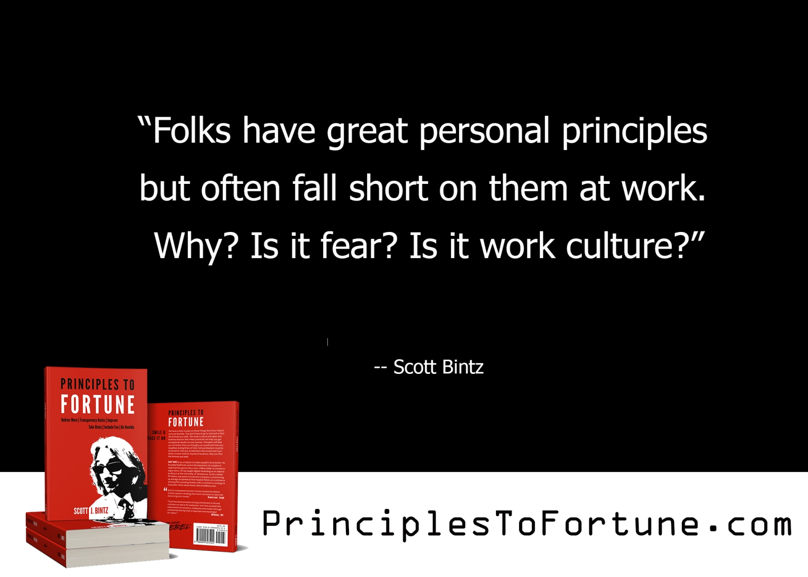 """""""Folks have great personal principles but often fall short on them at work. Why? Is it fear? Is it work culture?"""" -- Quote from the Book Principles to Fortune by Scott Bintz"""